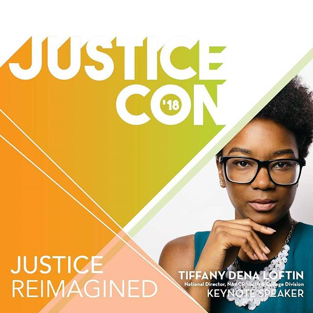 YOUNG. WOKE. BRILLIANT. Tiffany D. Loftin, National Director of the NAACP Youth and College Division, will be the luncheon keynote speaker for JusticeCon 2018. Register now to hear this dynamic leader, trainer and organizer. Registration is FREE. Link in bio!