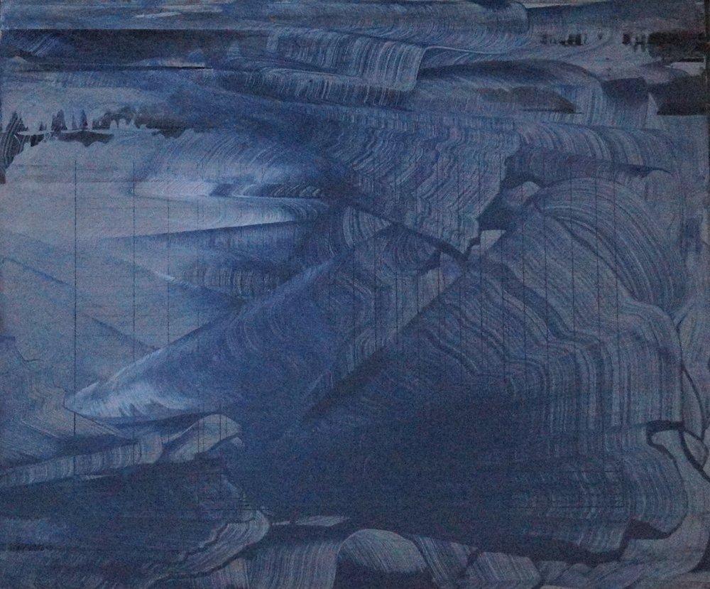 Mémoire du Non-Lieu, Technique mixte sur plaque d' aluminium, 65cmx55cm, 2015