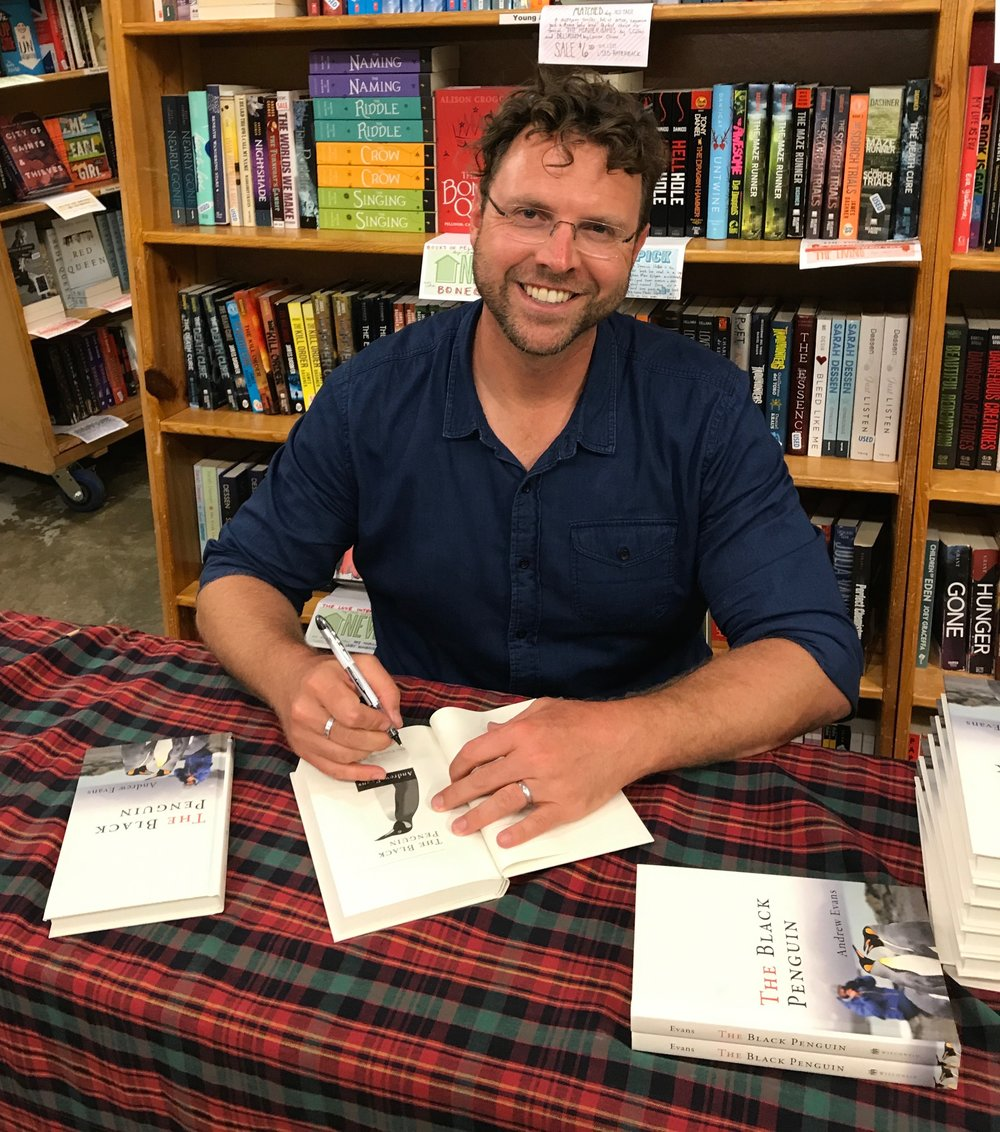 Signing books at Powell's Bookstore in Portland, Oregon.