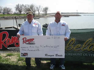 Mike Unger and Jim Block Receiving the Ranger Boats Bonus Check