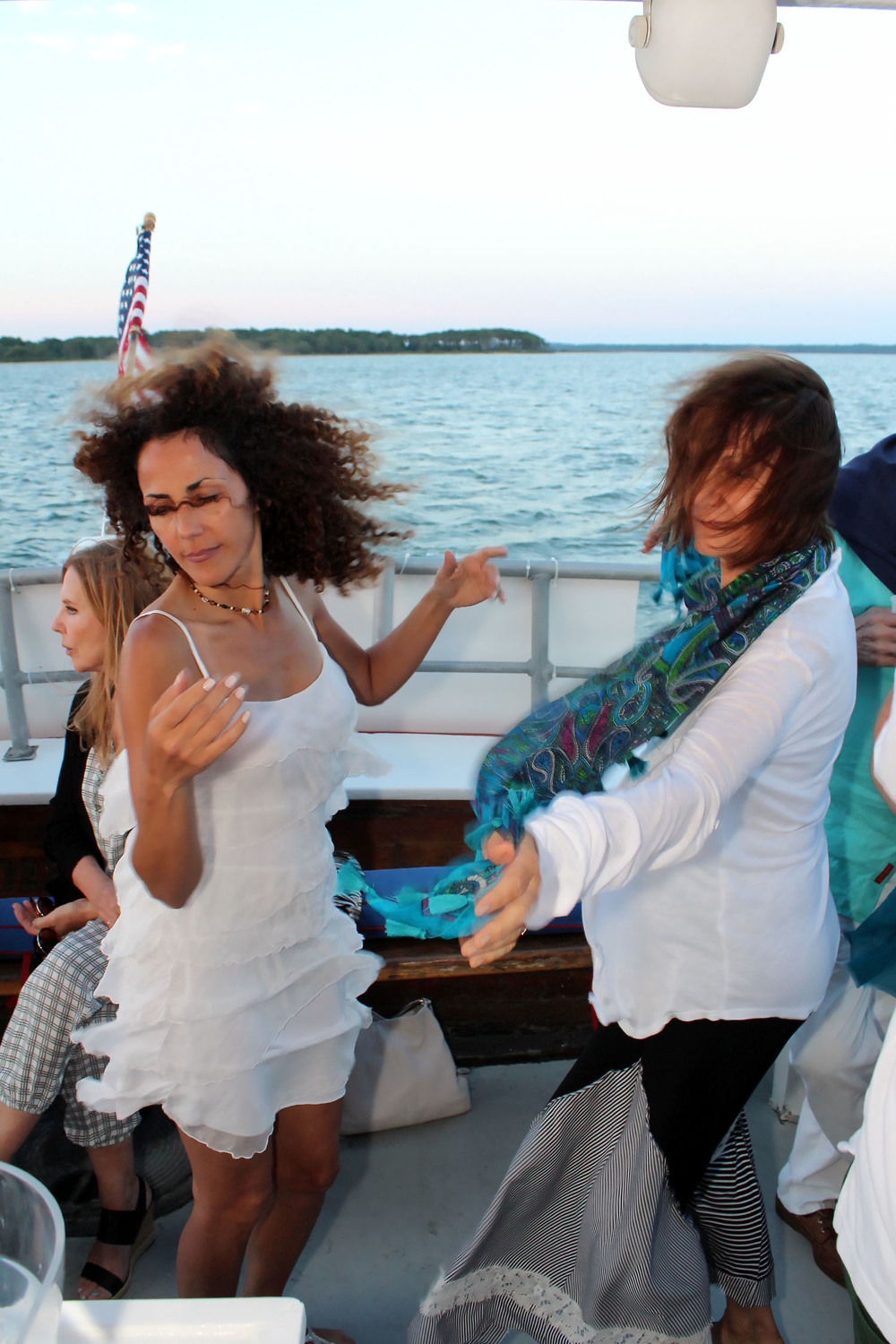 Always dancing on First Latin Jazz Sunset Cruise on June 30, 2016 © Tom Kotchie