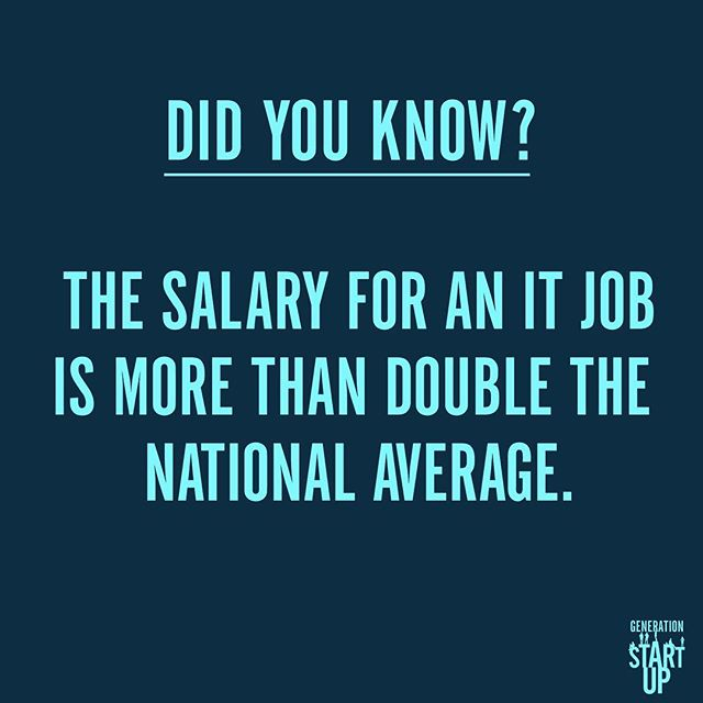 The national average salary for a IT-related job is about $81,000 and is predicted to increase 12% by 2024. #GenerationStartup