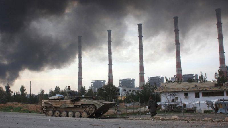 For March 4th 2016 - A power-station near Aleppo, Syria