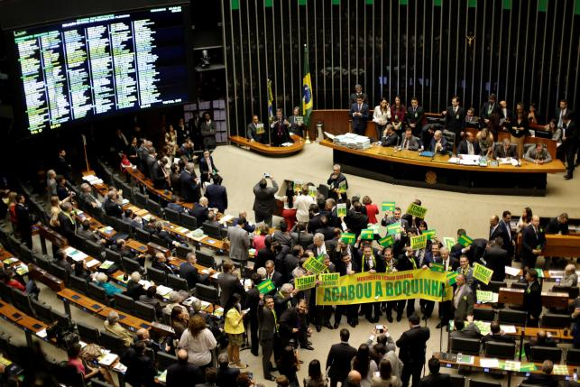 The congressional protest against former-President Dilma Rousseff.