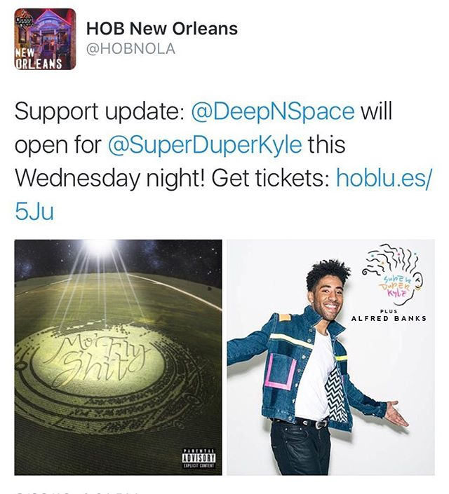 SuperduperKyle X  DeepNSpace  X Alfred Banks  Tonight at House of Blues.  Doors at 6 / Showtime 6:30  #Beam #HOB #ThisIsNewOrleans #superduper #kyle #alfredbanks #wavy