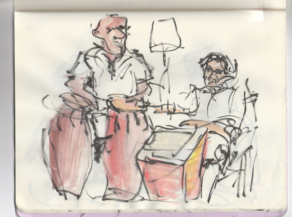 Si Jie's sketch during an afro cuban rumba session with Eddie and Luca.