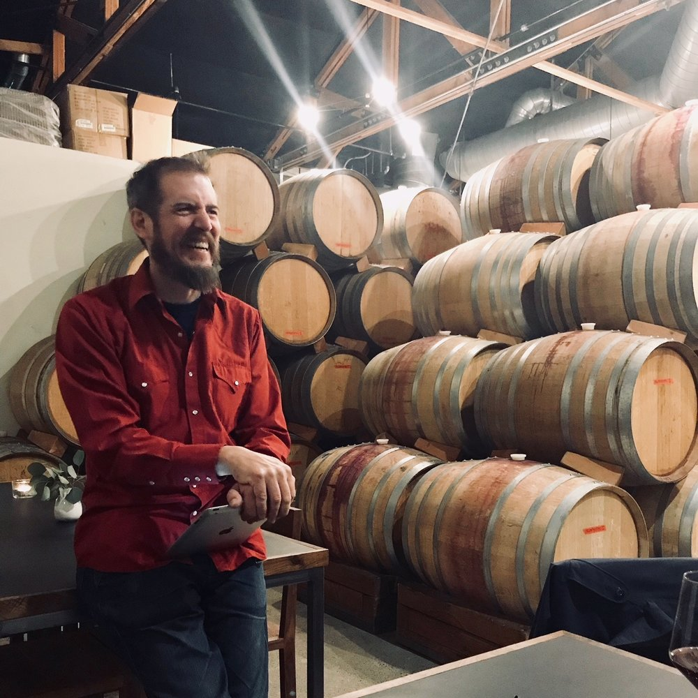 Carl Sutton at Potek Winery in Santa Barbara (image: Ashley W Hollister)