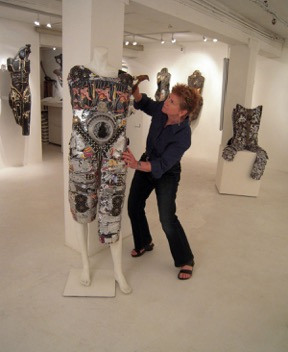 Artist Linda Stein with her exhibition 'Fluidity of Gender'