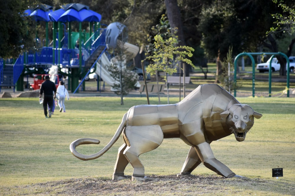 Families headed to play structures at Waller Park in the Santa Maria Valley will also get to see special animal sculptures on display until June. The art installation was arranged by the Santa Barbara County Arts & Culture Office in conjunction with the Squire Foundation. (Janene Scully / Noozhawk photo)