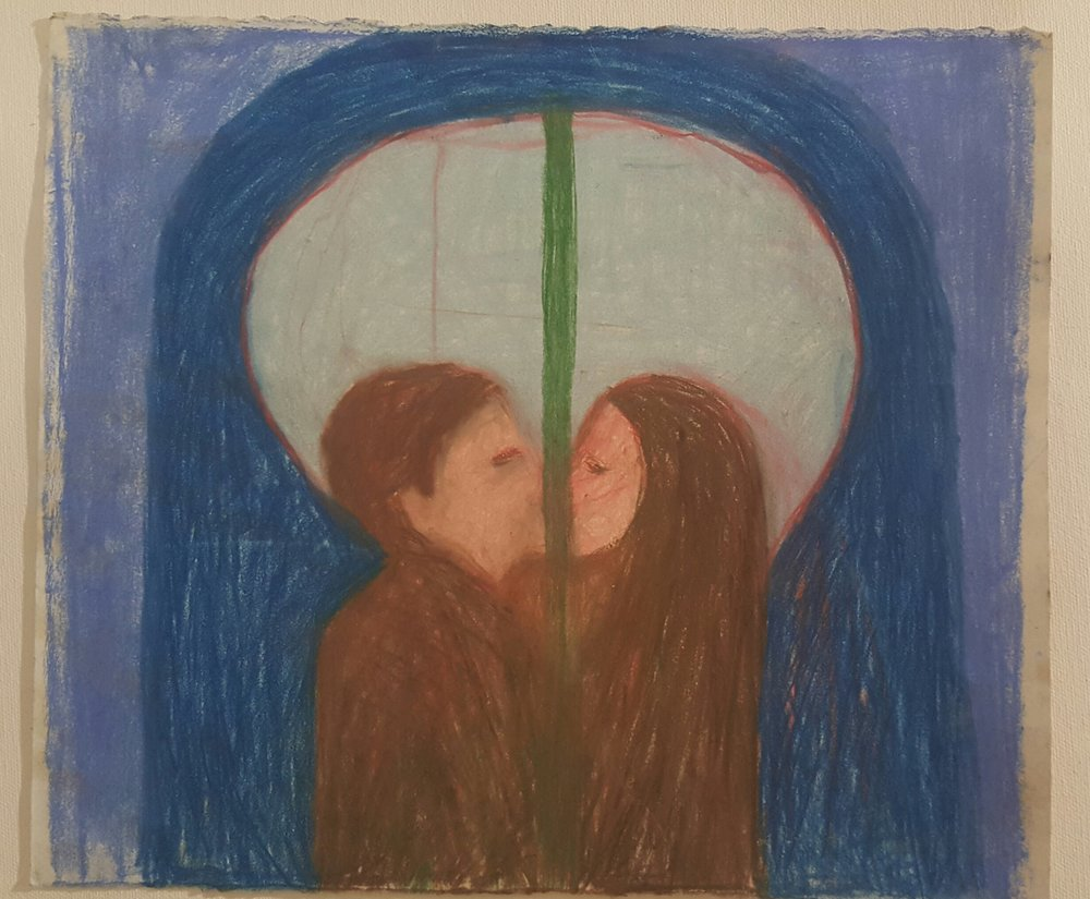 Ruti Ben Yaacov, man and a woman joining and separation 2, 2017, pastel chalk on paper, 28.5x33 cm