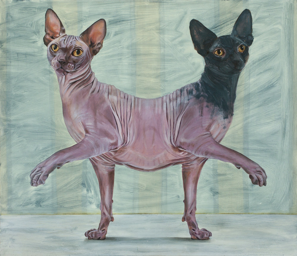 Yael Caffrey, Parapagus Cat II , 2015,  Oil on Wood