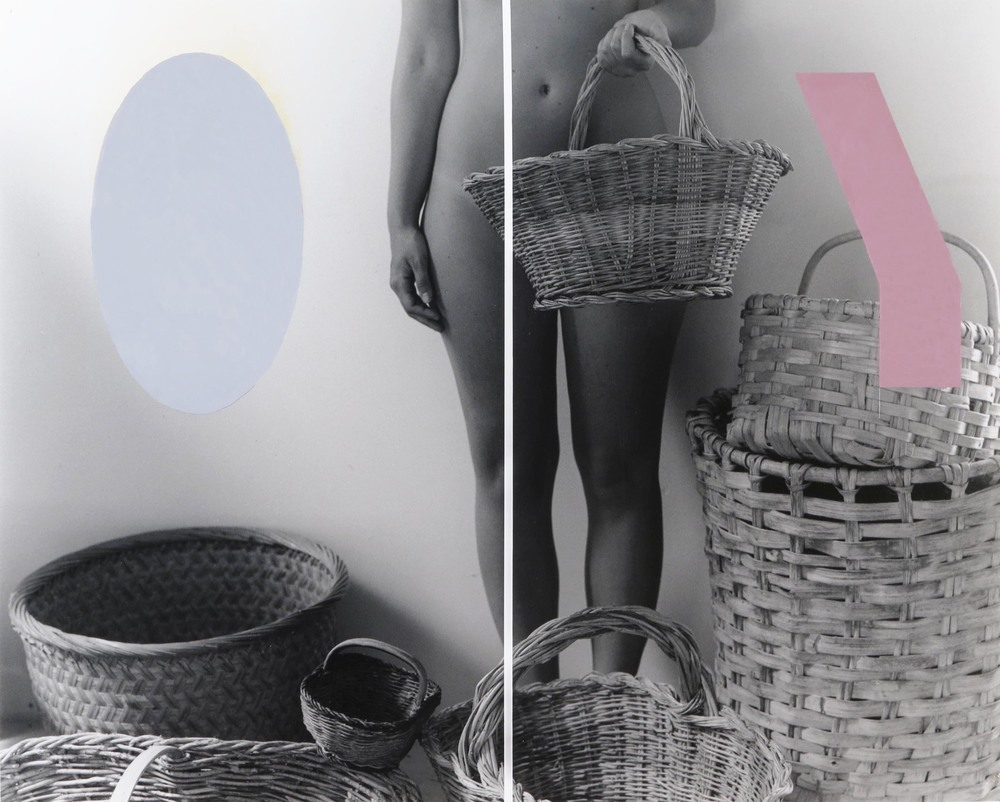 The Quest for Baskets  2012  oil paint on gelatin silver print  24 x 19 inches