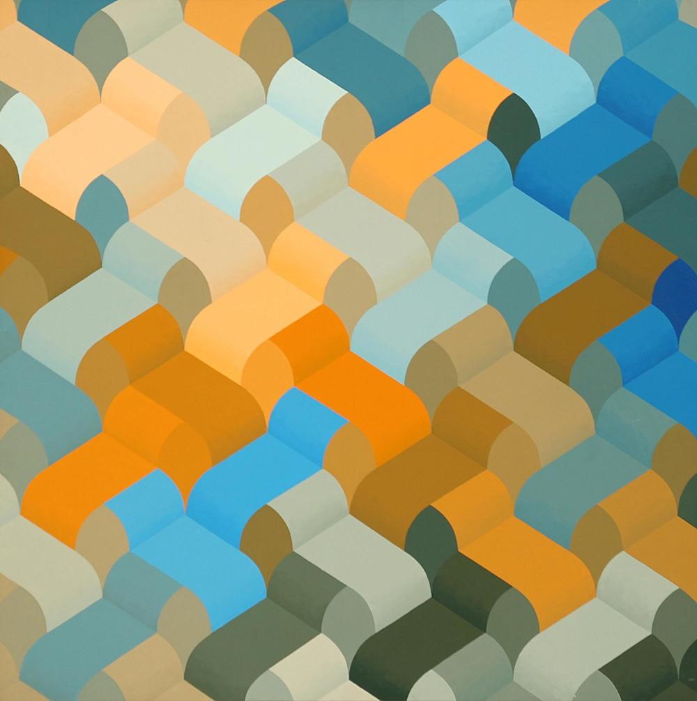 Cascade  1974  acrylic on canvas  36 x 36 inches