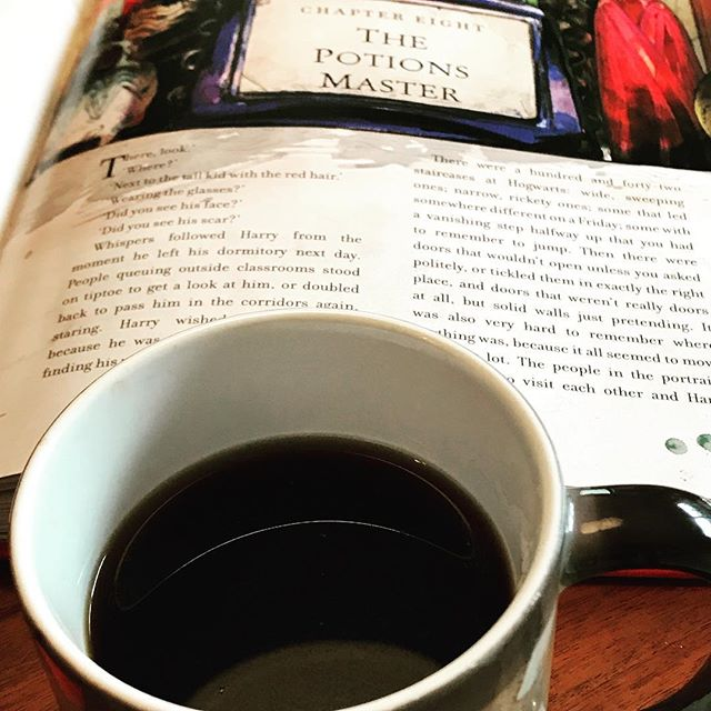 Coffee and Harry Potter ....plus a snowy day... it's going to be a good day. #harry #harrypotter #coffee #snow #snowedin #snowday
