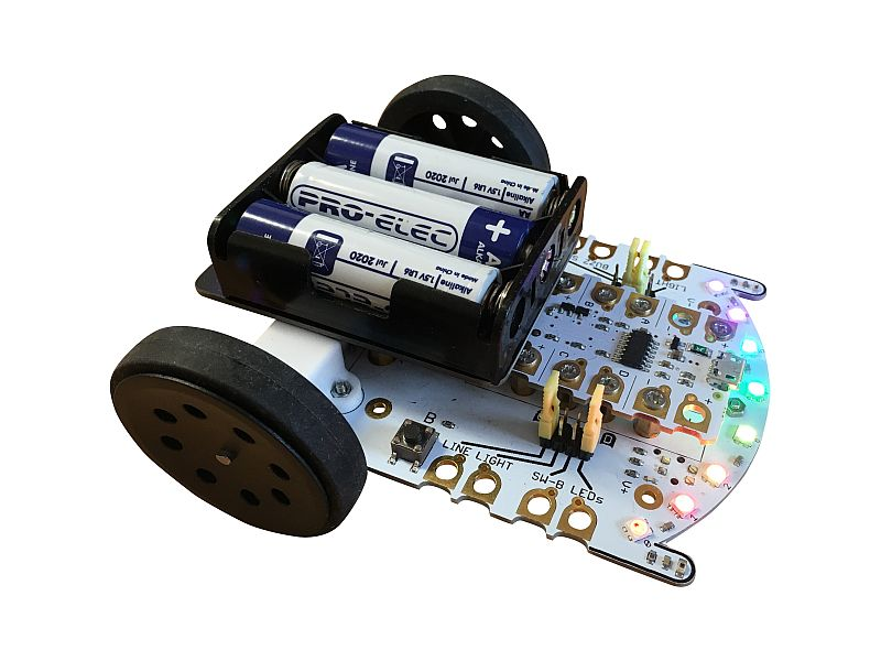 The CrumbleBot - Wheels, motors, lights, and sensors galore!
