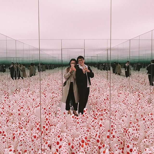 felt like i was trapped in a black mirror episode where i could potentially die from mushrooms 🍄 #yayoikusama #infinitymirrors