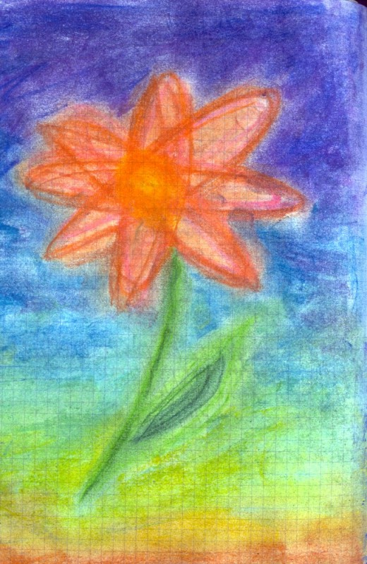 flower - chalk pastel on graph paper