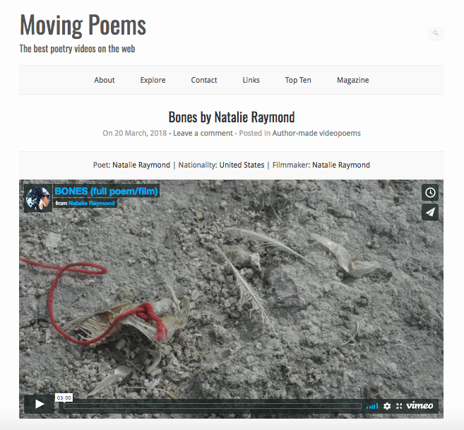 Featured on  MovingPoems.com  March 2018  BONES , 2016/17