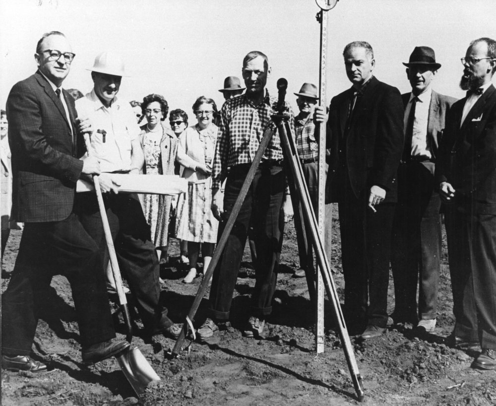 Breaking ground for the marine lab, June 1965. HSU President Siemens (far left), Marine Lab Director James Gast (far right). Photo: HSU.