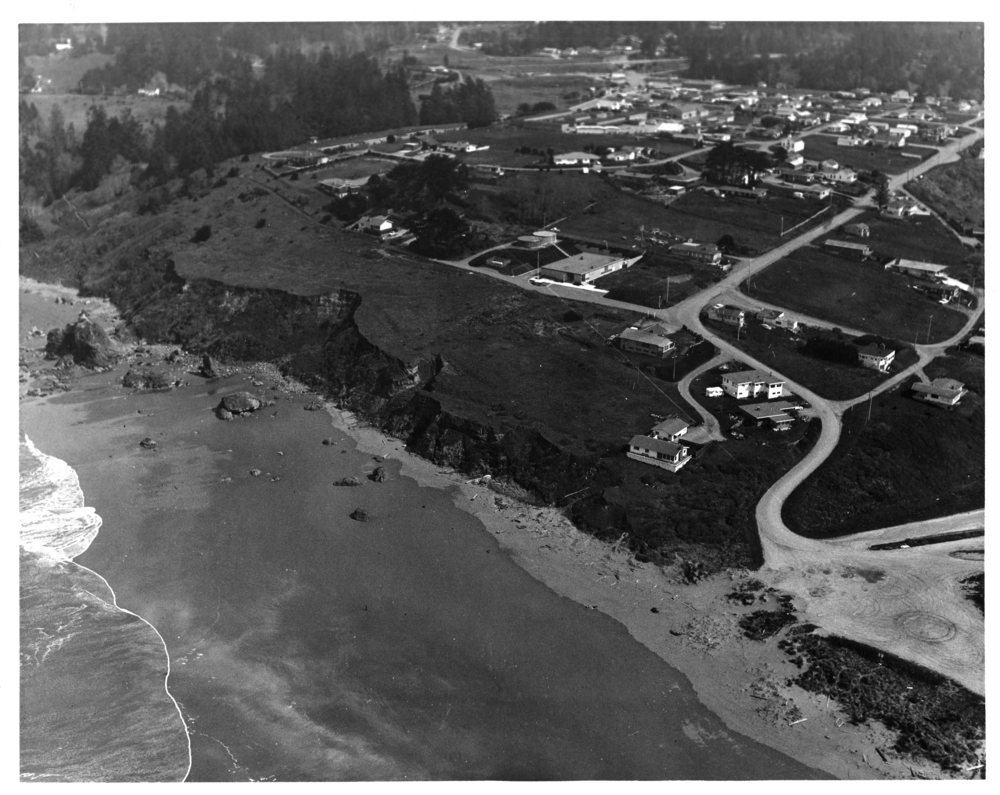 Trinidad and the marine lab in the late 1960s, before the lab was expanded. Note the absence of ocean   front homes near the lab at that time. Photo: HSU.