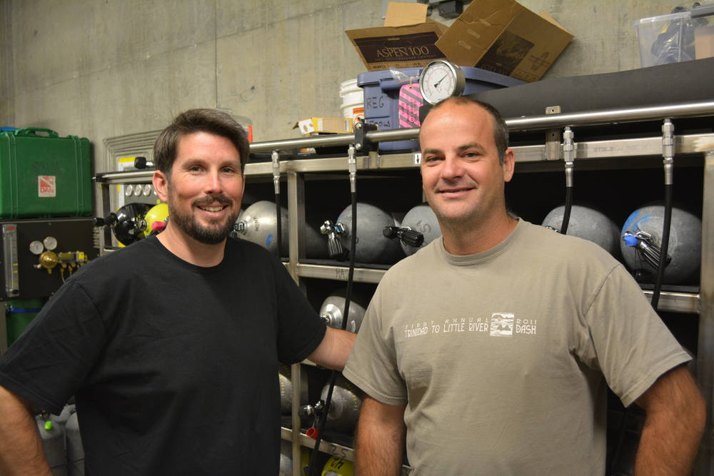 HSU Diving Safety Officer Rich Alvarez (left) with Diving Instructor Steve Monk (right).