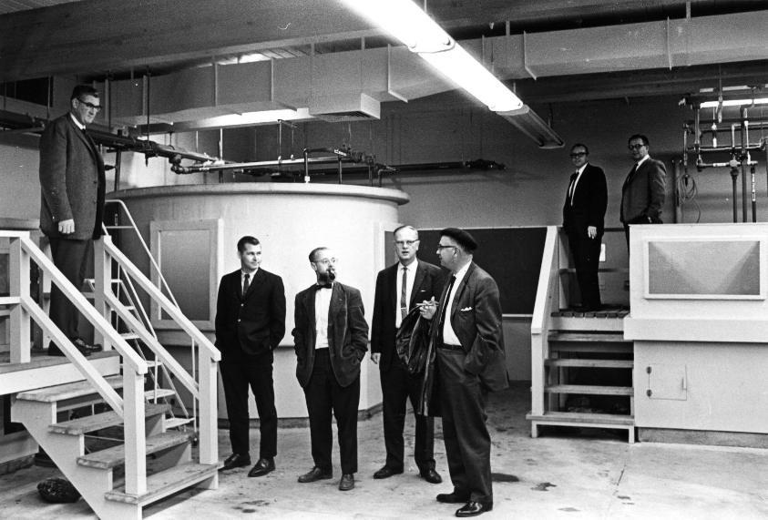 Hanging out in the new wet lab, 1960s. Dr. James Gast (center). Photos: HSU.
