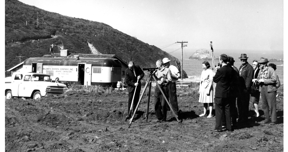 Surveying site for the future marine lab, 1965. Photo: HSU.