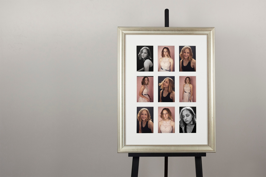 Gorgeous 9-up Frame (9- 5x7 prints framed to 17x23) optional frame colors silver, gold, white, black