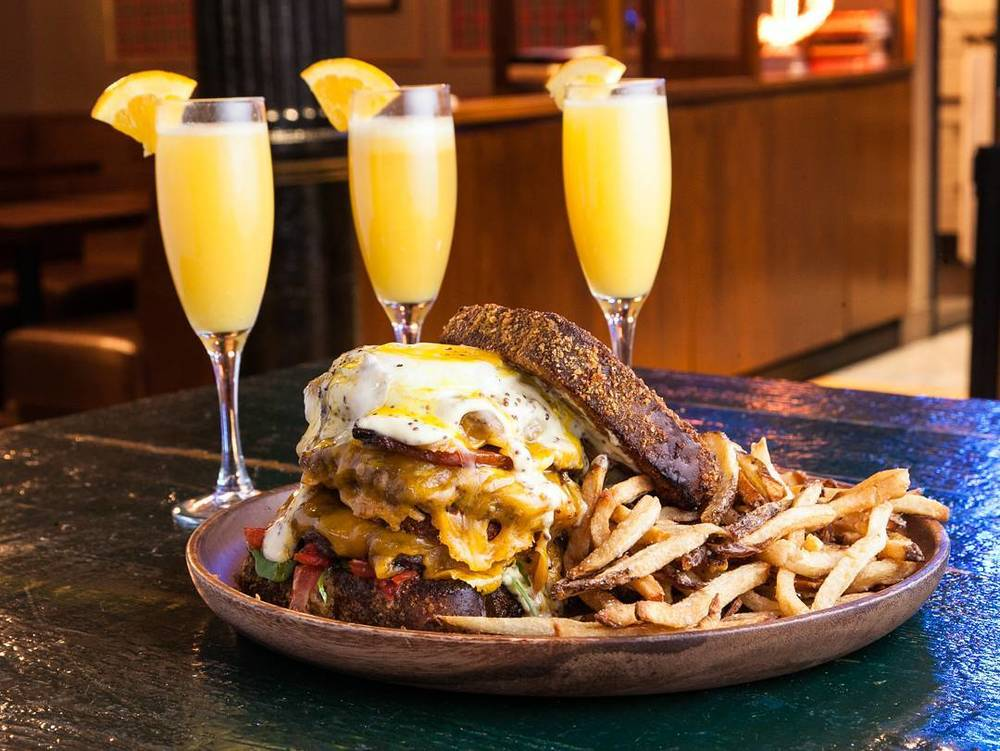 """Notorious B.R.G. - 🍔 Three LaFrieda Patties🍔 Cheddar Cheese🍔 Maple Soaked Pork Belly🍔 Truffle Cheese Hash Brown🍔 Pickled Hollandaise🍔 Banana Jameson Soaked French Toast """"Buns"""""""