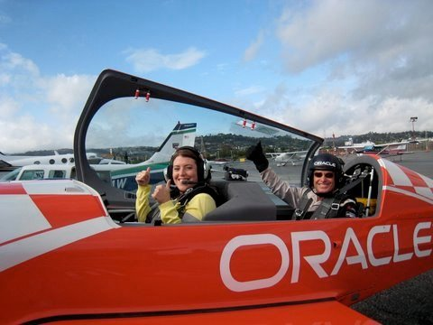 Here I am in 2009 shooting for Oprah with Team Oracle's aerobatic pilot Sean D. Tucker.