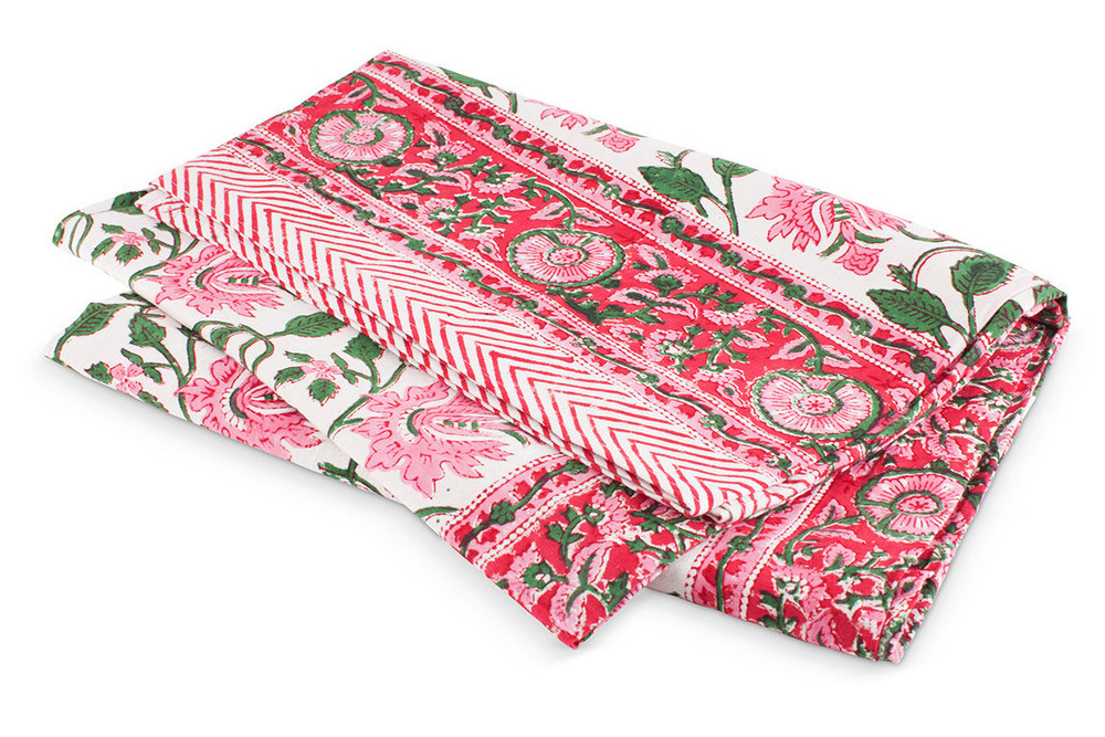 Floral Vine Tablecloth ($45) - Pep up your kitchen nook or backyard picnic table with this pink Floral Vine Tablecloth.  Hand printed in India and 100% cotton, this exotic print is versatile and can also be used as a beach blanket, bedding topper, or maxi dress.**If anyone knows how to sew this into a maxi dress for me I'll give you $100.
