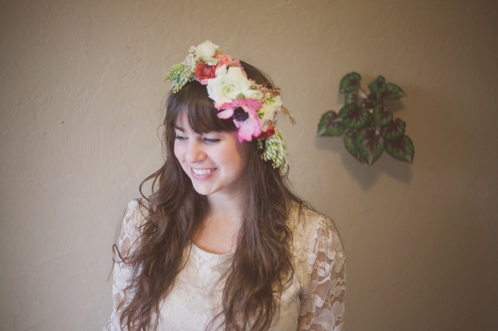 Floral Crown - Materials Needed: Wire, scissors, floral tape, and ribbon.Flowers: Spray roses, rannunculus, lisianthus, wax flower and andromedia.Instructions: Let's All Wear Flowers//In The Hair