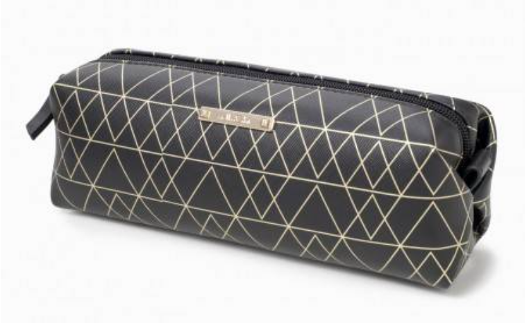Black and Gold Long Pouf Slim Makeup Bag by Stella & Dot ($25)
