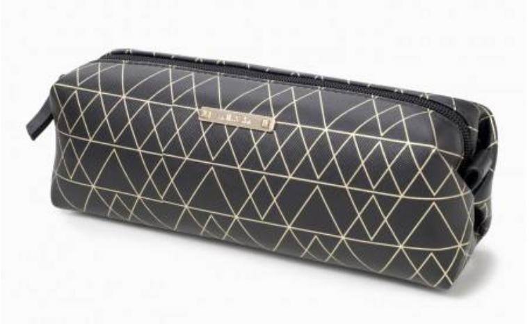Black and Gold Long Pouf Slim Makeup Bag by Stella & Dot ($25)
