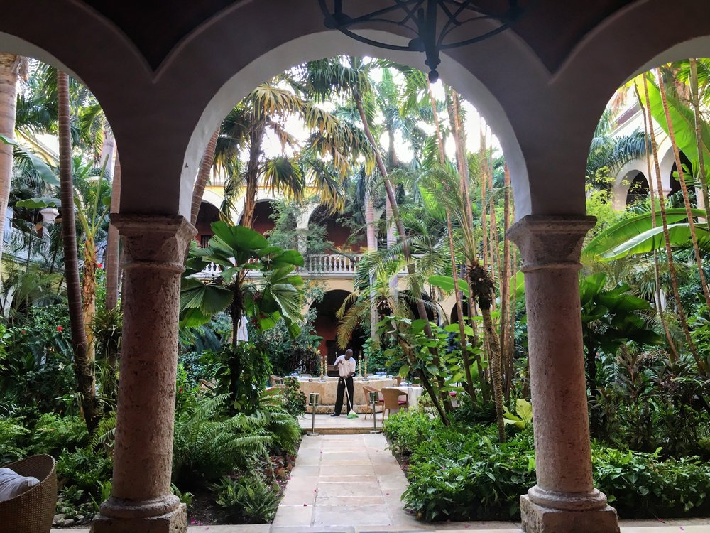 The beautiful outdoor courtyard within the Sofitel Legend Santa Clara in the heart of Cartagena