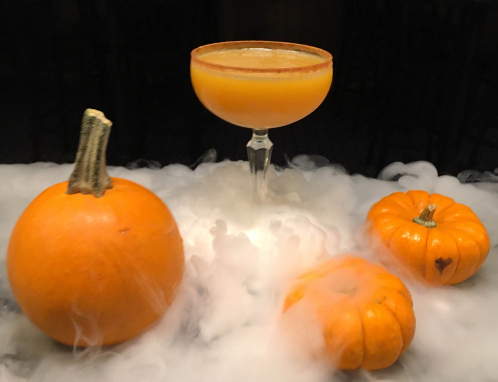 Sleep Hallow - 2 oz. Applejack1 oz. Pumpkin Puree1/2 oz. Golden Falernum1/2 oz. Passion Fruit Puree1/2 oz. Pineapple Juice1/2 oz. Lime1/4 oz. Vanilla SyrupShake all ingredients and strain into a chilled glass. Coat rim with cinnamon.
