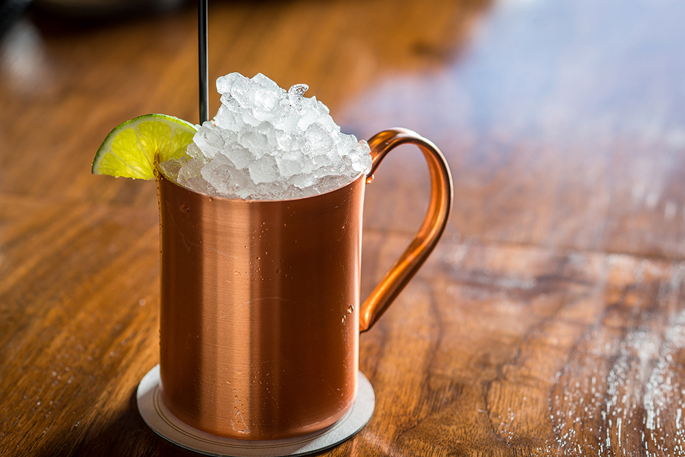 The Irish Mule at The Roof - 1.5 oz Jameson black barrel Irish whiskey.5 oz Fresh lime juice3 oz Ginger beerServed over crushed ice in a copper mule mug.