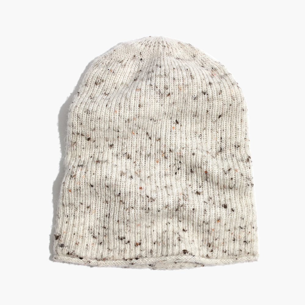 Madewell Donegal Kent Beanie ($38) - Use the code LATEBIRD to get 30% off your online order! This slouchy nylon/acrylic/wool/poly blend beanie is great to throw on when you're having a bad hair day. #dryshampooandbeanies