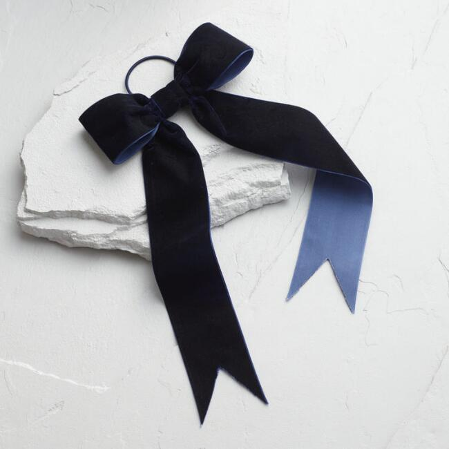 Cost Plus World Market Navy Velvet Hair Tie - Add a sweet feminine touch to your holiday outfit with this adorable navy velvet hair bow. The elastic holder makes it easy to add to any hairstyle. #clothesandbows