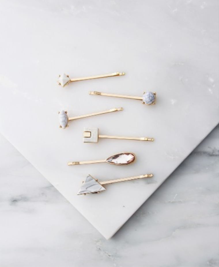 La-Ta-Da Marble Embellished Slides ($7.99) - These cutie patootie hair pins add a bit of elegance to your hair. The best part? La-ta-da has partnered up with Girl Up, the United Nations Foundation's adolescent girl campaign, to provide leadership development training to empower girls to change the world. #styleforacause