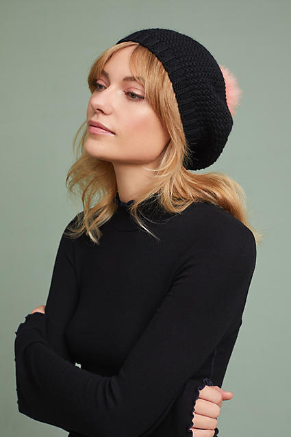 Anthropologie Glacia Knit Beret ($58) - Do as the Parisians do and add a beret to your wardrobe. This slouchy knit comes with a pom pom (my obsession continues) and is available in black, canary, and navy. #thatcroissantlife