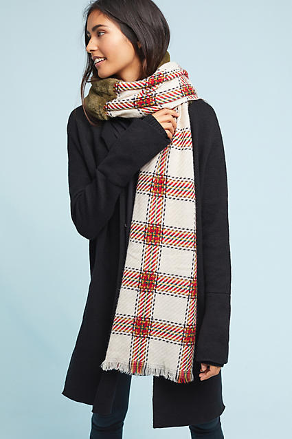 Anthropologie Northbound Scarf ($58) - This oversized scarf is sure to keep you warm this winter! It's graphic pattern and bit of fur lining makes you want to hit the trails in the great outdoors. #watchoutforbears