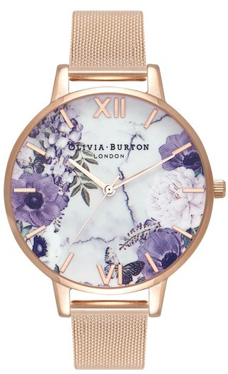 Olivia Burton Marble Floral Mesh Strap Watch ($150) - Yes, this is a splurge but when else can you spoil someone (or yourself)? This purple patterned marble floral background is a great juxtaposition against the rose gold watch face and mesh band. #aworkofart