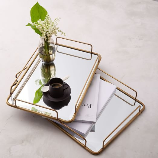 Fishs Eddy Gilded Cafe Mirror Tray ($69-$79) - Serve your guests coffee or cocktails on these vintage-looking mirror trays. They also make a great coffee table accessory - just add a small vase of flowers or a few of your favorite books. #lookinggood