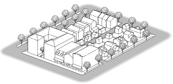 Form-Based Codes   Street and building types (or mix of types), build-to lines, number of floors, and percentage of built site frontage specified.