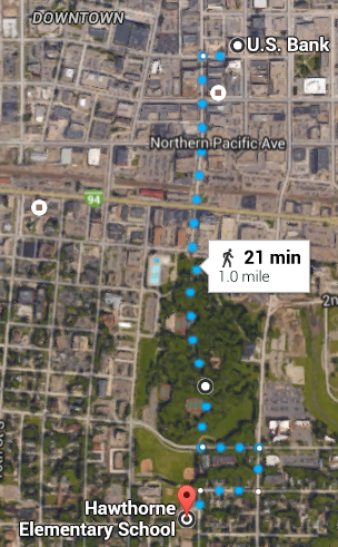 The distance from Hawthorne Elementary to US Bank Plaza is also 1 mile through the neighborhood, Island Park and the downtown district.