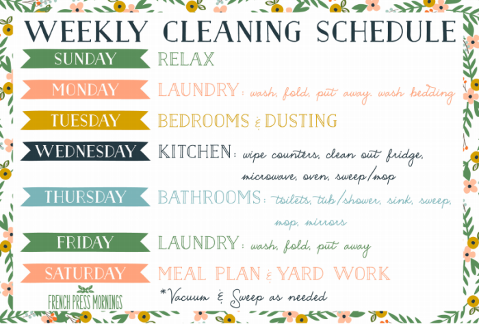 French Press Mornings Cleaning Schedule Free Printable