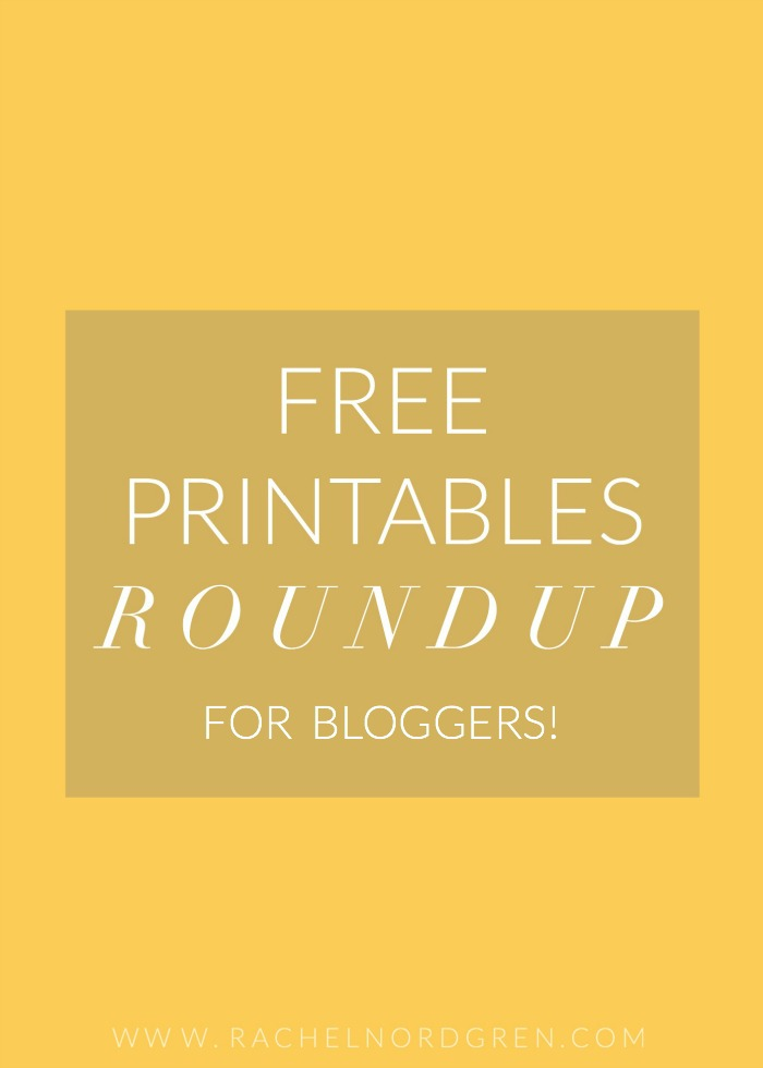 A resource roundup of four free blogging printables from The Native New Yawker, Bright Bazaar, Vale Design, and Sandy Toes and Popsicles.