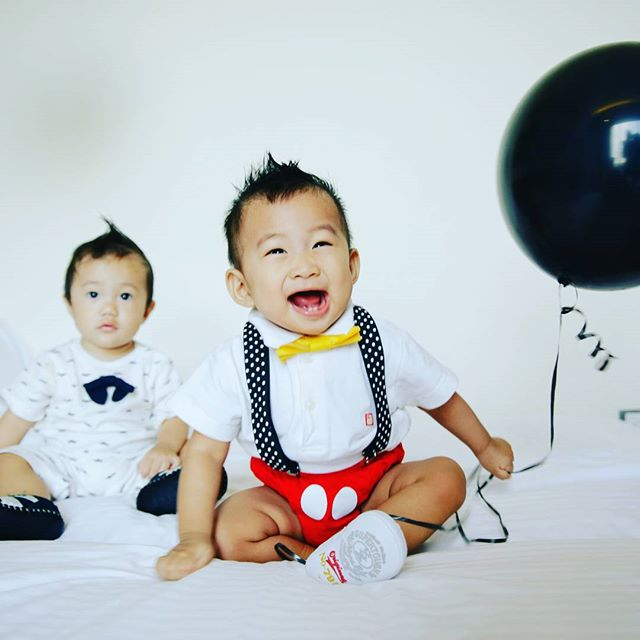 The birthday boy is definitely a happy boy!  Happy Birthday Eden!  #EdenturnsOne #birthdayboy #firstbirthday #mickeymouseboy #hayspixels
