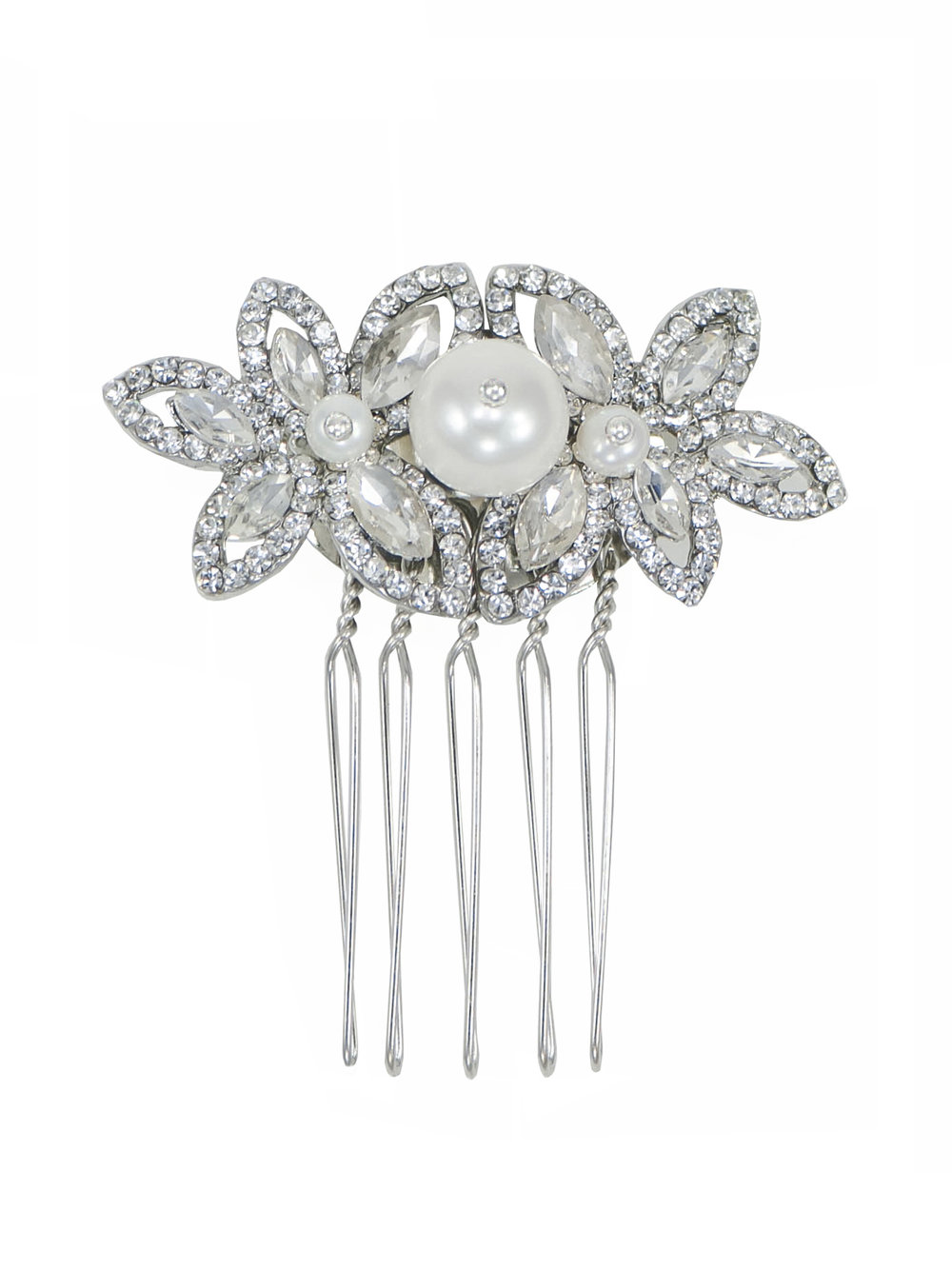 Rhinestone comb with beautiful freshwater pearls     Shop